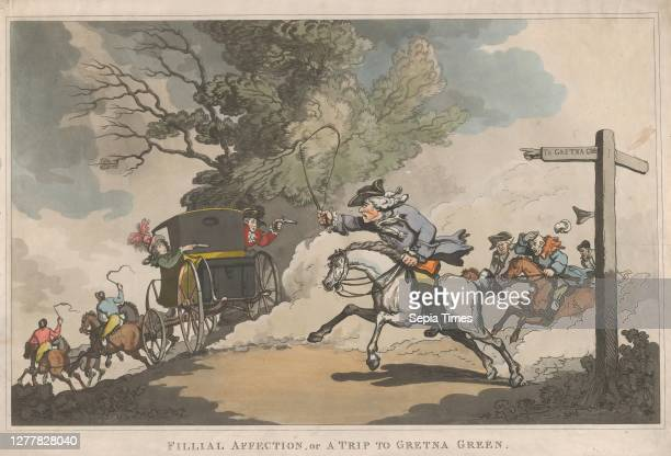 Thomas Rowlandson Filial Affection or a Trip to Gretna Green Thomas Rowlandson December 15 Handcolored etching with aquatint Image 10 1/2 in × 17 in...