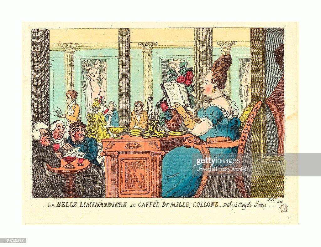 Thomas Rowlandson (british, 1756 - 1827 ), La Belle Limonaudiere Au Cafe Des Mille Colonnes, Palais Royal, Paris, 1814 : News Photo