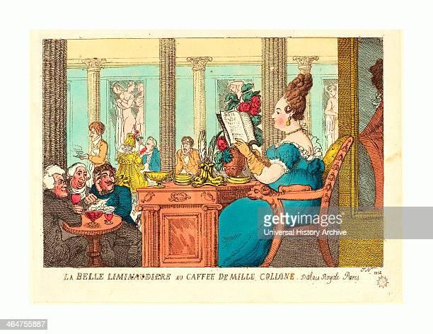 Thomas Rowlandson La Belle Limonaudiere Au Cafe Des Mille Colonnes Palais Royal Paris Handcolored Etching Rosenwald Collection