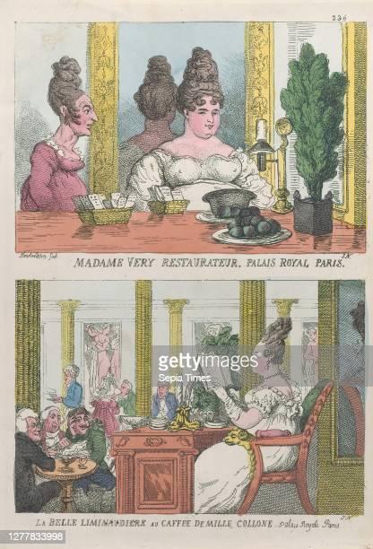 Thomas Rowlandson, Madame Very Restauranteur, Palais Royal Paris and La Belle Liminaudiere au Caffee De Mille Collone, Palais Royale Paris, Thomas...