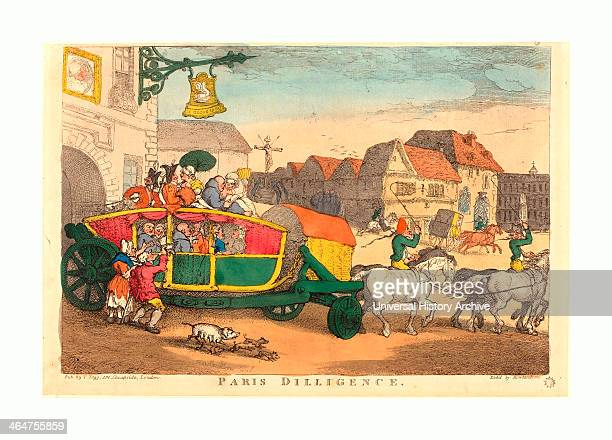 Thomas Rowlandson Paris Diligence Probably 1810 Handcolored Etching Rosenwald Collection