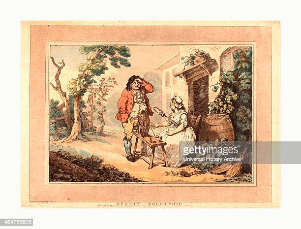 Thomas Rowlandson Rustic Courtship Handcolored Etching And Aquatint Rosenwald Collection
