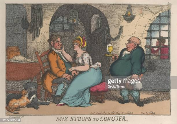 Thomas Rowlandson She Stoops to Conquer Thomas Rowlandson March 10 Handcolored etching Sheet 9 3/4 × 13 7/8 in Prints