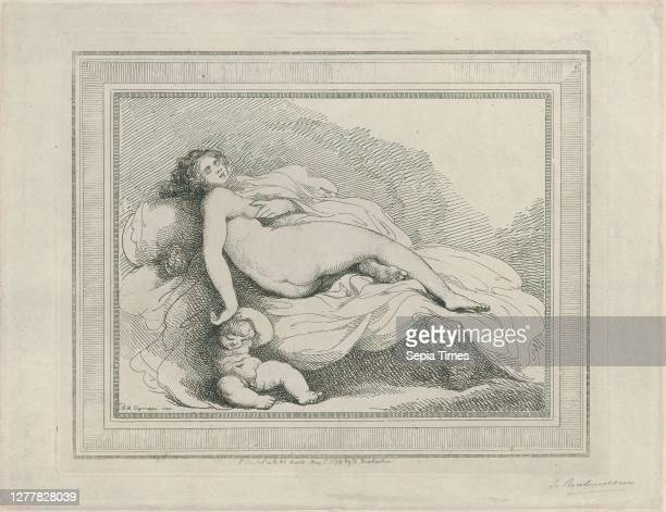 Thomas Rowlandson, Sleeping Venus and Love, Imitations of Modern Drawing, After Giovanni Battista Cipriani Etching and stipple, Image and border: 7...