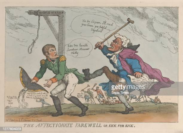 Thomas Rowlandson The Affectionate Farewell or Kick for Kick Thomas Rowlandson Napoléon Bonaparte Charles Maurice de Talleyrand Périgord April 17...
