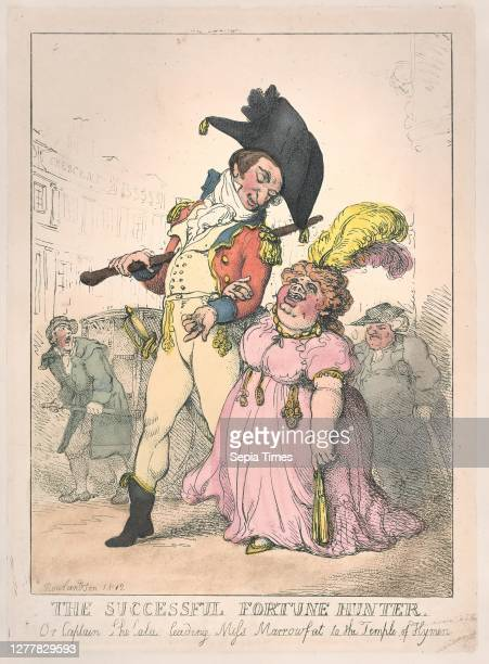 Thomas Rowlandson, The Successful Fortune Hunter, or Captain Shelalee Leading Miss Marrowfat to the Temple of Hymen, Thomas Rowlandson , [1802],...