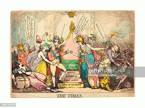 Thomas Rowlandson , The Times, Probably 1783, Hand-colored Etching, Rosenwald Collection.