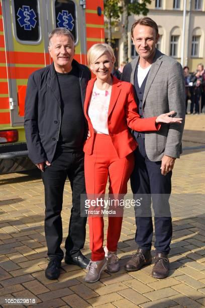 Thomas Ruehmann Andrea Kathrin Loewig and Bernhard Bettermann attend the ARD TV series 'In aller Freundschaft' 20 years anniversary fanfest at Media...