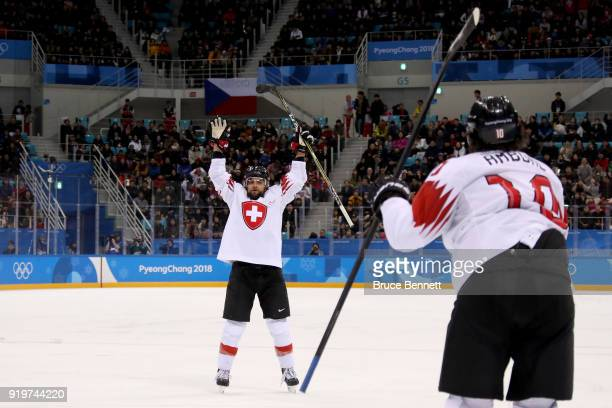 Thomas Rufenacht of Switzerland celebrates with Andres Ambuhl after scoring a goal against Pavel Francouz of the Czech Republic in the first period...