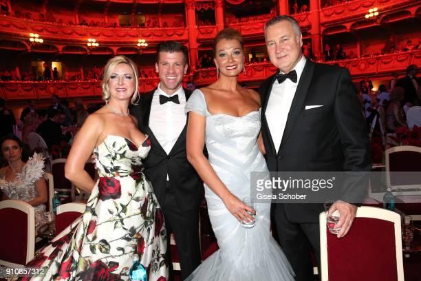 Thomas Rupprath and his wife Urte Rupprath, Franziska van Almsick and her partner Juergen B. Harder during the Semper Opera Ball 2018 at Semperoper...