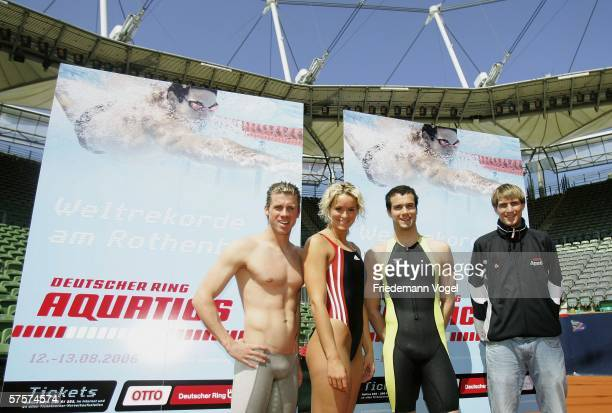 Thomas Rupprath, Janine Pietsch, Markus Rogan and Tom Sietas pose for the media after the Aquatics Press Conference at the Hamburg Rothenbaum on May...