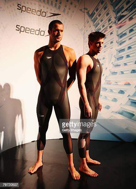 Thomas Rupprath of Germany and Marcus Rogan of Austria model the new Speedo LZR Racer suit at its launch at The Gymnasium on February 12, 2008 in...