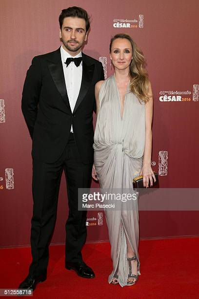 Thomas Sabatier and Audrey Lamy arrive to attend the 'Cesars Film Awards 2016' ceremony at Theatre du Chatelet on February 26 2016 in Paris France