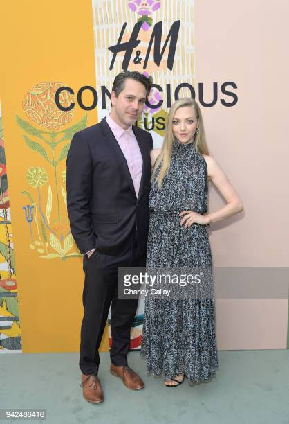 Thomas Sadoski and Amanda Seyfried attend the HM celebration of 2018 Conscious Exclusive collection at John Lautner's Harvey House on April 5 2018 in...