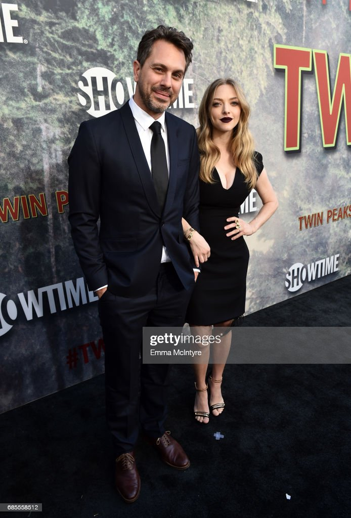 Thomas Sadoski (L) and Amanda Seyfried attend the premiere of Showtime's 'Twin Peaks' at The Theatre at Ace Hotel on May 19, 2017 in Los Angeles, California.