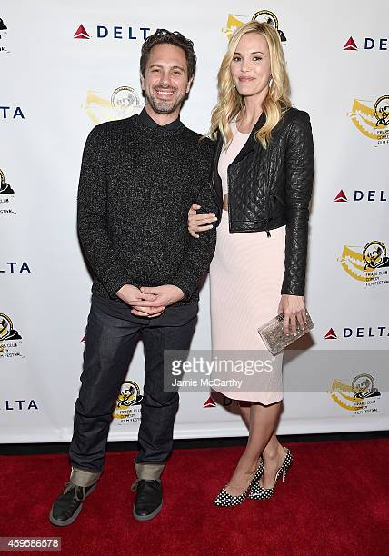 Thomas Sadoski and Leslie Bibb attend The Friar Club Presents 'Take Care' New York Screening at The Friars Club on November 25 2014 in New York City
