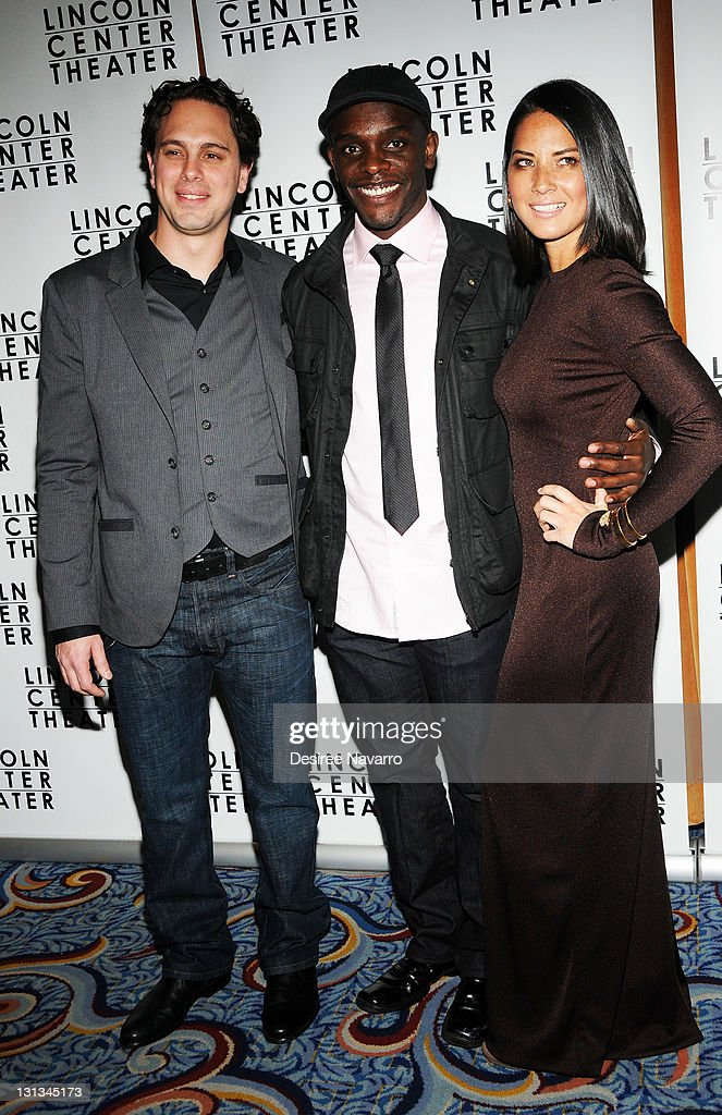 Thomas Sadoski, Chris Chalk and Olivia Munn attend the 'Other Desert Cities' opening night after party at the Marriot Marquis on November 3, 2011 in New York City.