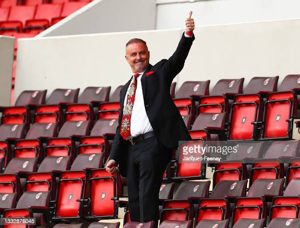 Thomas Sandgaard, owner of Charlton Athletic greets the fans prior to the Sky Bet League One match between Charlton Athletic and Sheffield Wednesday...