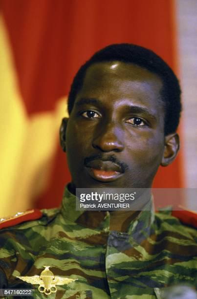 Thomas Sankara President of Burkina Faso during the visit of French President Francois Mitterrand on November 18 1986 in Ougadougou Burkina Faso