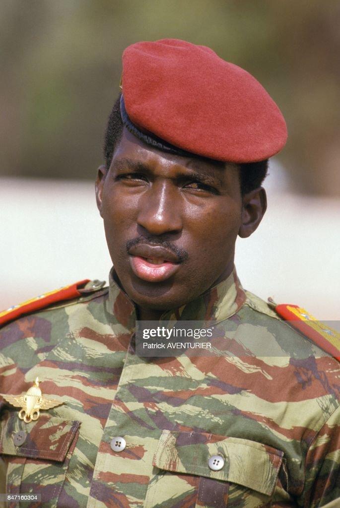 Thomas Sankara, President of Burkina Faso, during the visit of French President Francois Mitterrand on November 18, 1986 in Ougadougou, Burkina Faso.