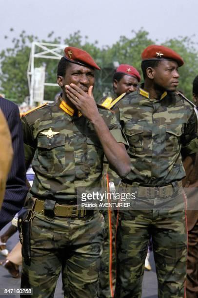Thomas Sankara President of Burkina Faso left during the visit of French President Francois Mitterrand on November 18 1986 in Ougadougou Burkina Faso