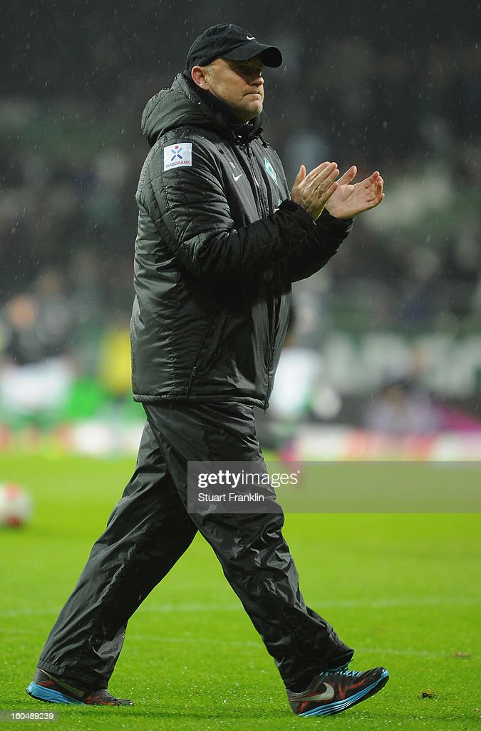 Thomas Schaaf, head coach of Bremen claps during the Bundesliga match between SV Werder Bremen and Hannover 96 at Weser Stadium on February 1, 2013 in Bremen, Germany.