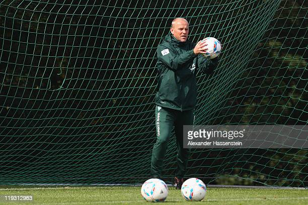 Thomas Schaaf head coach of Bremen during the Werder Bremen training session on July 18 2011 in Donaueschingen Germany