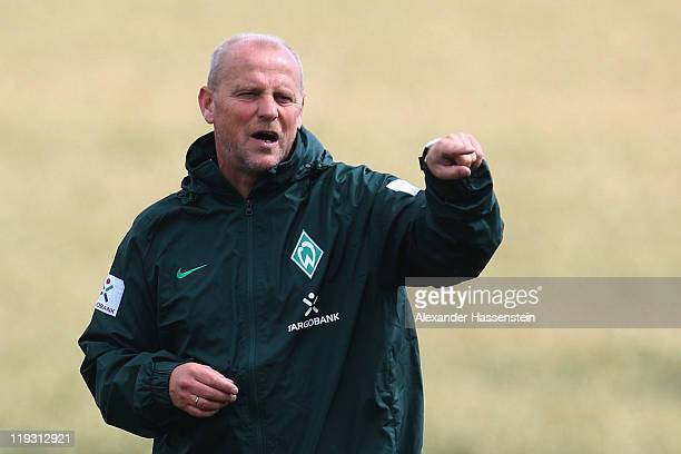 Thomas Schaaf head coach of Bremen gives instructions during the Werder Bremen training session on July 18 2011 in Donaueschingen Germany