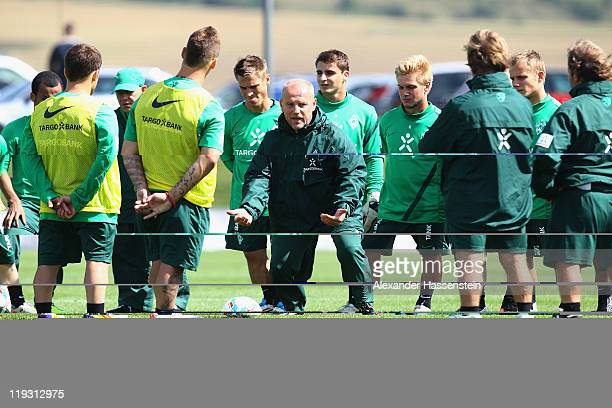 Thomas Schaaf head coach of Bremen gives instructions to his players during the Werder Bremen training session on July 18 2011 in Donaueschingen...