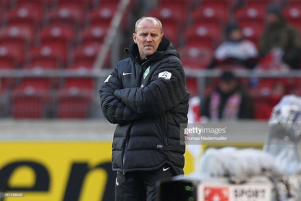 Thomas Schaaf, head coach of Bremen looks on during the Bundesliga match between VfB Stuttgart and Werder Bremen at Mercedes-Benz Arena on February 9, 2013 in Stuttgart, Germany.