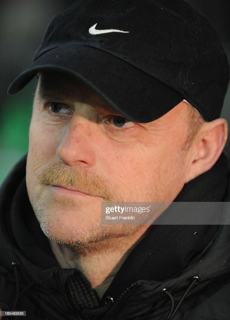 Thomas Schaaf, head coach of Bremen ponders during the Bundesliga match between SV Werder Bremen and Hannover 96 at Weser Stadium on February 1, 2013 in Bremen, Germany.