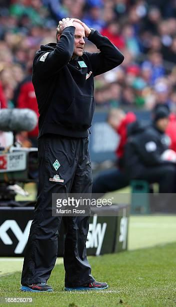 Thomas Schaaf head coach of Bremen reacts during the Bundesliga match between Werder Bremen and FC Schalke 04 at Weser Stadium on April 6 2013 in...