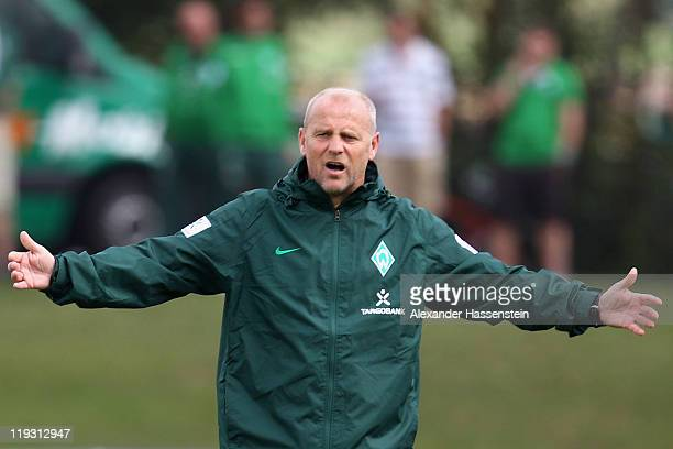 Thomas Schaaf head coach of Bremen reacts during the Werder Bremen training session on July 18 2011 in Donaueschingen Germany