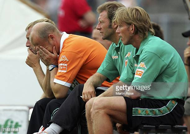 Thomas Schaaf headcoach of Bremen reacts during the friendly match between Girondins Bordeaux and Werder Bremen at Marschweg Stadium on July 28, 2006...