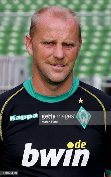 Thomas Schaaf poses during the Bundesliga 1st Team Presentation of SV Werder Bremen at the Weser Stadium on July 29 2006 in Bremen Germany