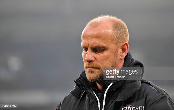Thomas Schaaf trainer of Bremen looks dejected during the Bundesliga match between FC Schalke 04 and Werder Bremen at the VeltinsArena on February 7...