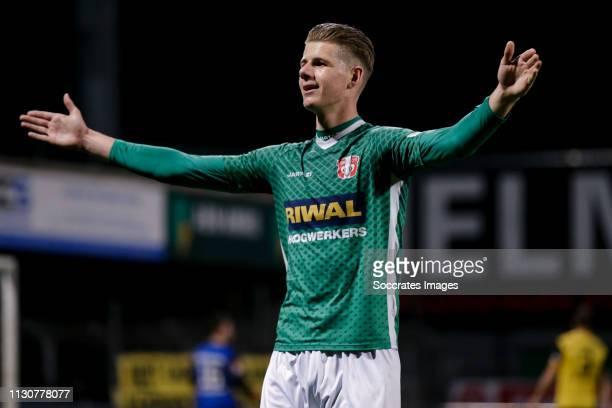 Thomas Schalekamp of FC Dordrecht celebrate his goal the 11 during the Dutch Keuken Kampioen Divisie match between FC Dordrecht v Roda JC at the...