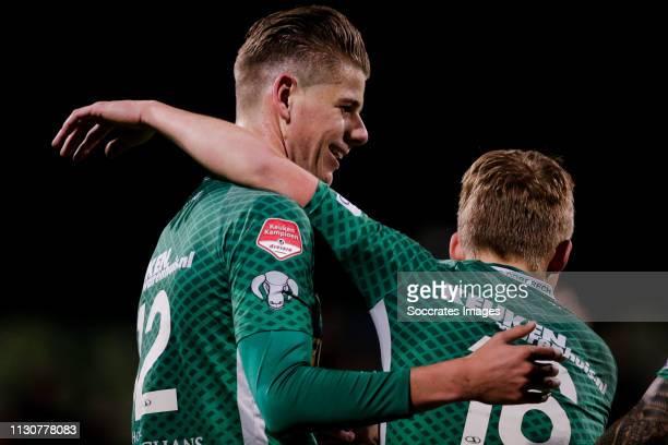 Thomas Schalekamp of FC Dordrecht celebrate his goal the 11 with Thijs Timmermans of FC Dordrecht during the Dutch Keuken Kampioen Divisie match...