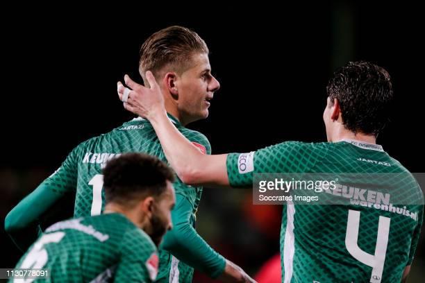Thomas Schalekamp of FC Dordrecht celebrate his goal the 11 with Maarten Peijnenburg of FC Dordrecht during the Dutch Keuken Kampioen Divisie match...
