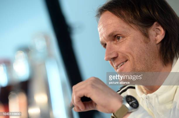 Thomas Schneider assistant coach of the German national soccer team speaking at a press conference in Munich Germany 28 March 2016 The German...