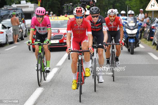 Thomas Scully of Australia and Team EF Education First Drapac P/B Cannondale / Dimitri Claeys of Belgium and Team Cofidis / Michael Schar of...