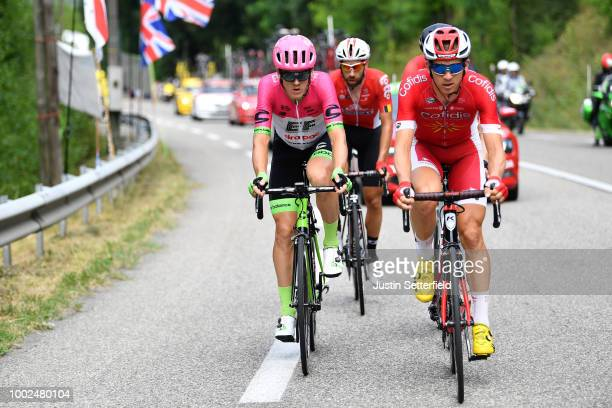 Thomas Scully of Australia and Team EF Education First Drapac P/B Cannondale / Dimitri Claeys of Belgium and Team Cofidis / during the 105th Tour de...