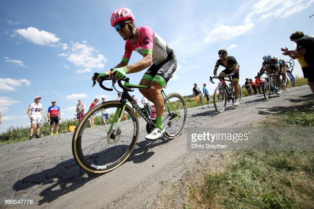 Thomas Scully of Australia and Team EF Education First Drapac P/B Cannondale / Willems À Hem Cobbles Sector 1 / Pave / Fans / Public / during the...
