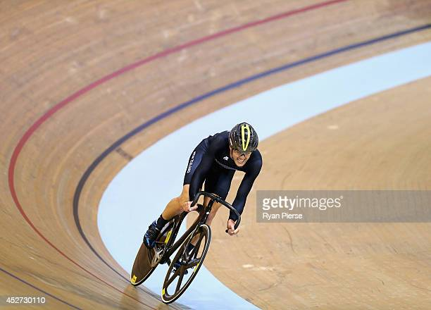 Thomas Scully of New Zealand competes in the Men's 40km Points Race at Sir Chris Hoy Velodrome during day three of the Glasgow 2014 Commonwealth...