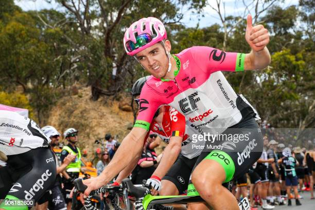 Thomas Scully of TEAM EF EDUCATION FIRST gives a thumbs up to the cheering crowd on the last lap of Old Willunga Hill at Stage five from McLaren Vale...