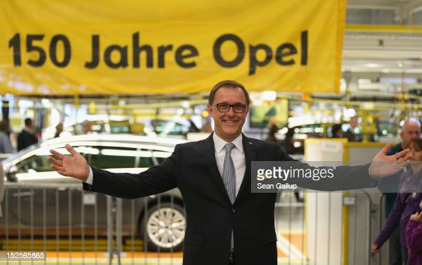 Thomas Sedran current head of Opel tours the Opel Insignia and Astra factory during a celebration marking Opel's 150th anniversary on September 22...