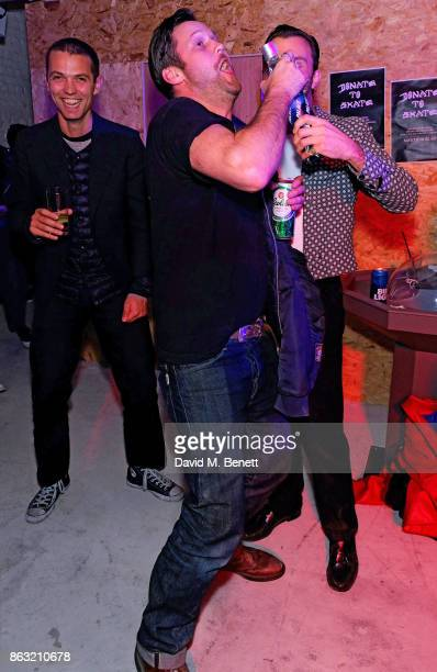 Thomas Shickle Arthur De Borman and Theo Hutchcraft attend the Palace Skate PALASONIC X Ciroc Vodka on October 19 2017 in London England