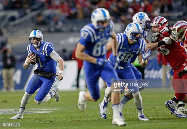 Thomas Sirk of the Duke Blue Devils rushes against the Indiana Hoosiers in the first half during the New Era Pinstripe Bowl at Yankee Stadium on...