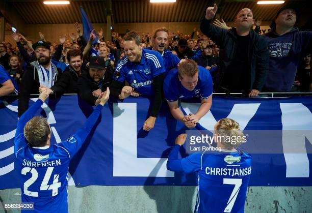 Thomas Sorensen and Jesper Christjansen of Lyngby BK celebrate with the fans after the Danish Alka Superliga match between Lyngby BK and FC...
