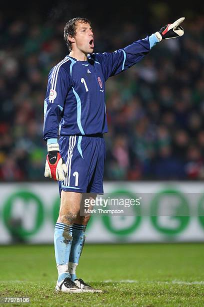 Thomas Sorensen of Denmark during the Euro2008 Group F qualifying match between Northern Ireland and Denmark at Windsor Park on November 17 2007 in...